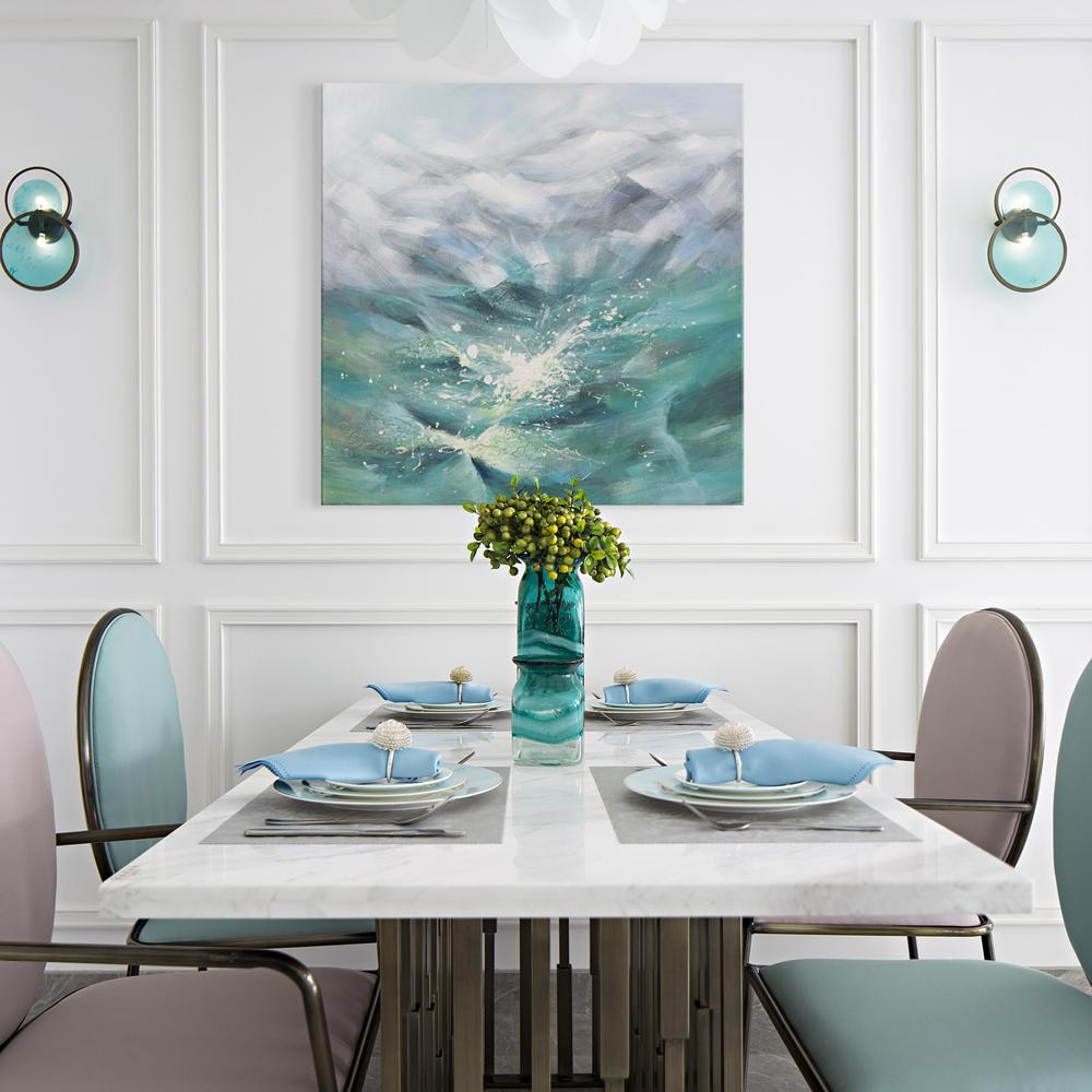 Waves in Green - Painting - Osharey Framed Wall Art