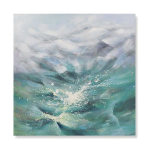 Waves in Green - Hand Painted Art - Osharey Canvas Wall Art