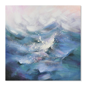 Waves in Blue - Painting - Osharey Framed Wall Art
