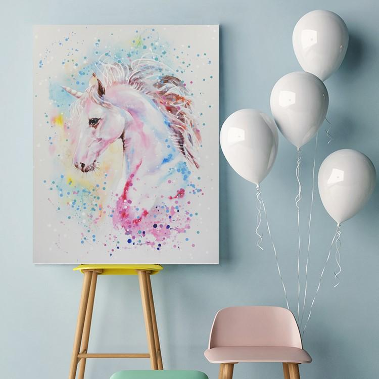 Unicorn - Canvas Print with Paint touches - Osharey Canvas Wall Art
