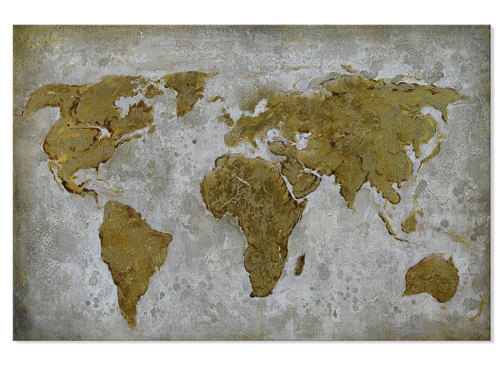 Painting of World Map with gold foil