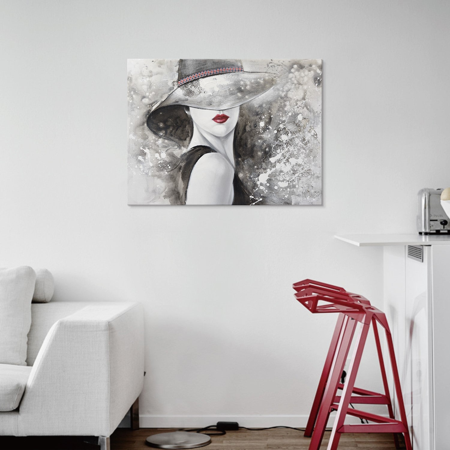 Wall Decor - Red Lips - Woman - Painting - Glamour