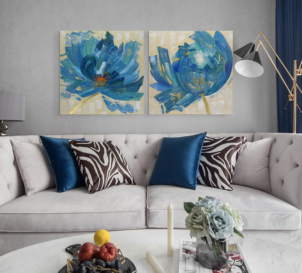 Blooming in Blue - Painting - Osharey Framed Wall Art