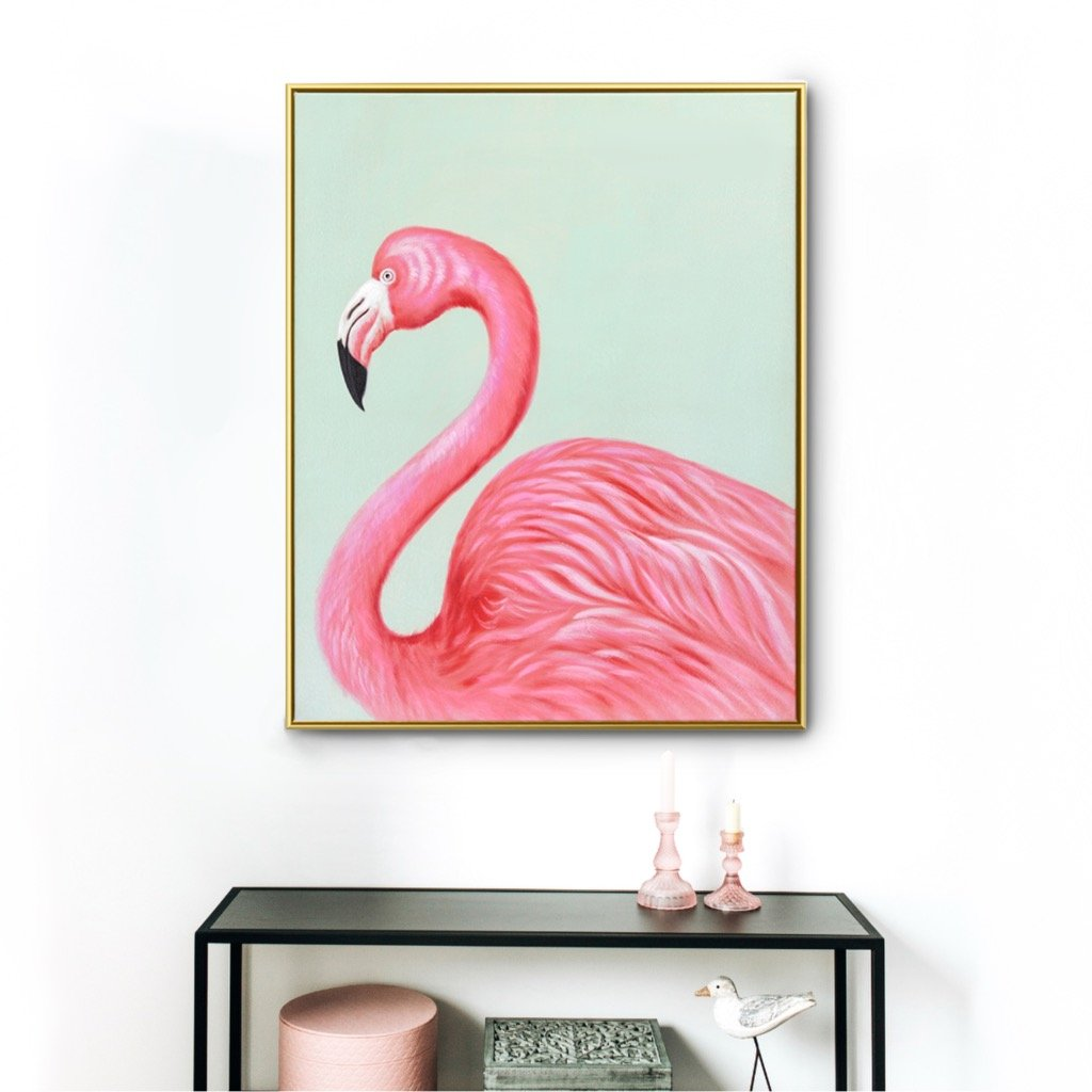 Elegant Flamingo - Canvas Print with Paint touches - Osharey Framed Wall Art
