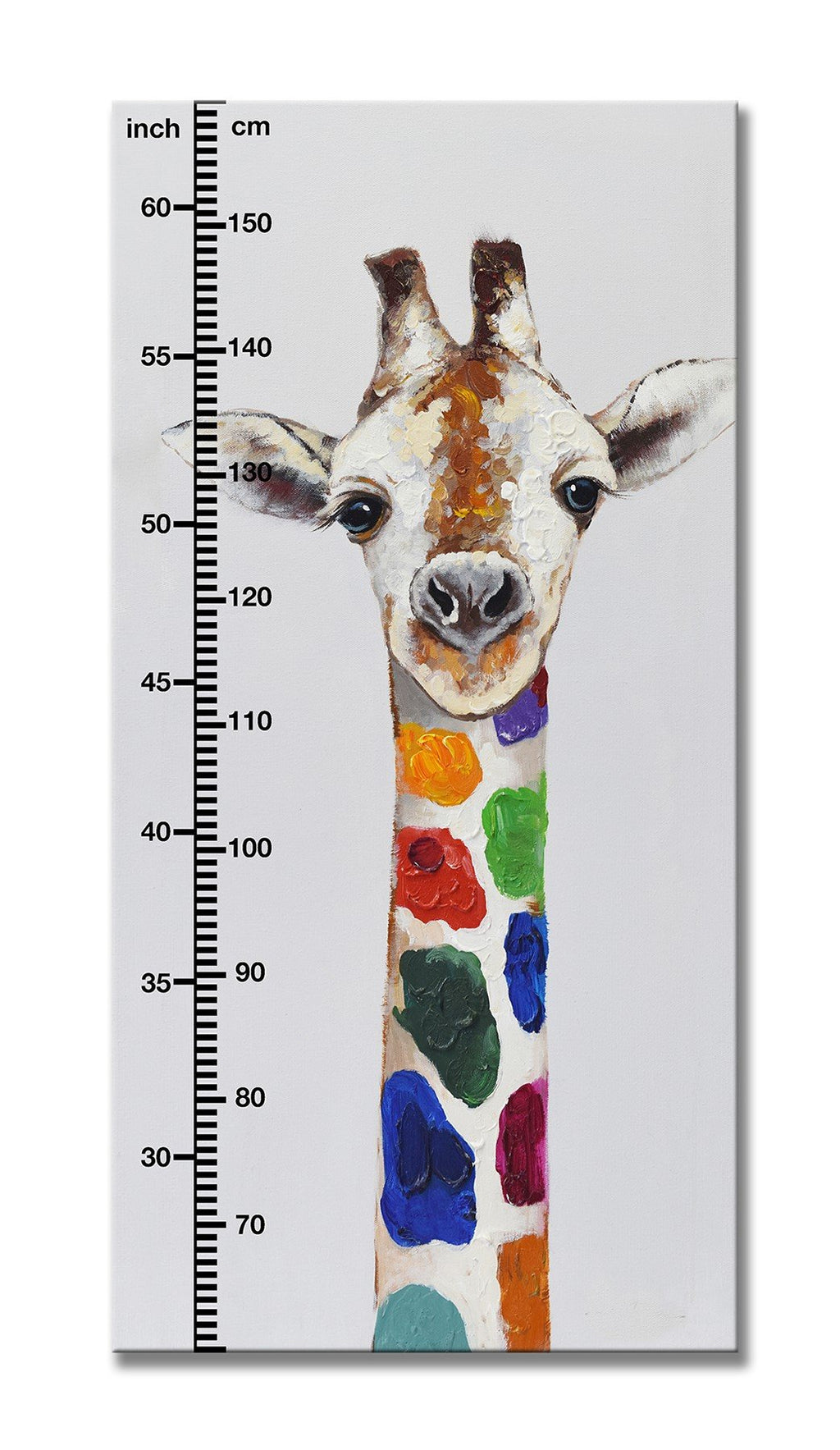 Watch Me Grow - Giraffe- Canvas Print with Paint touches - Osharey Canvas Wall Art