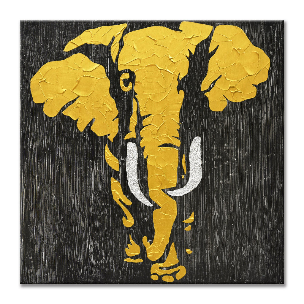 Elephant in Gold - Hand Painted Art - Osharey Canvas Wall Art