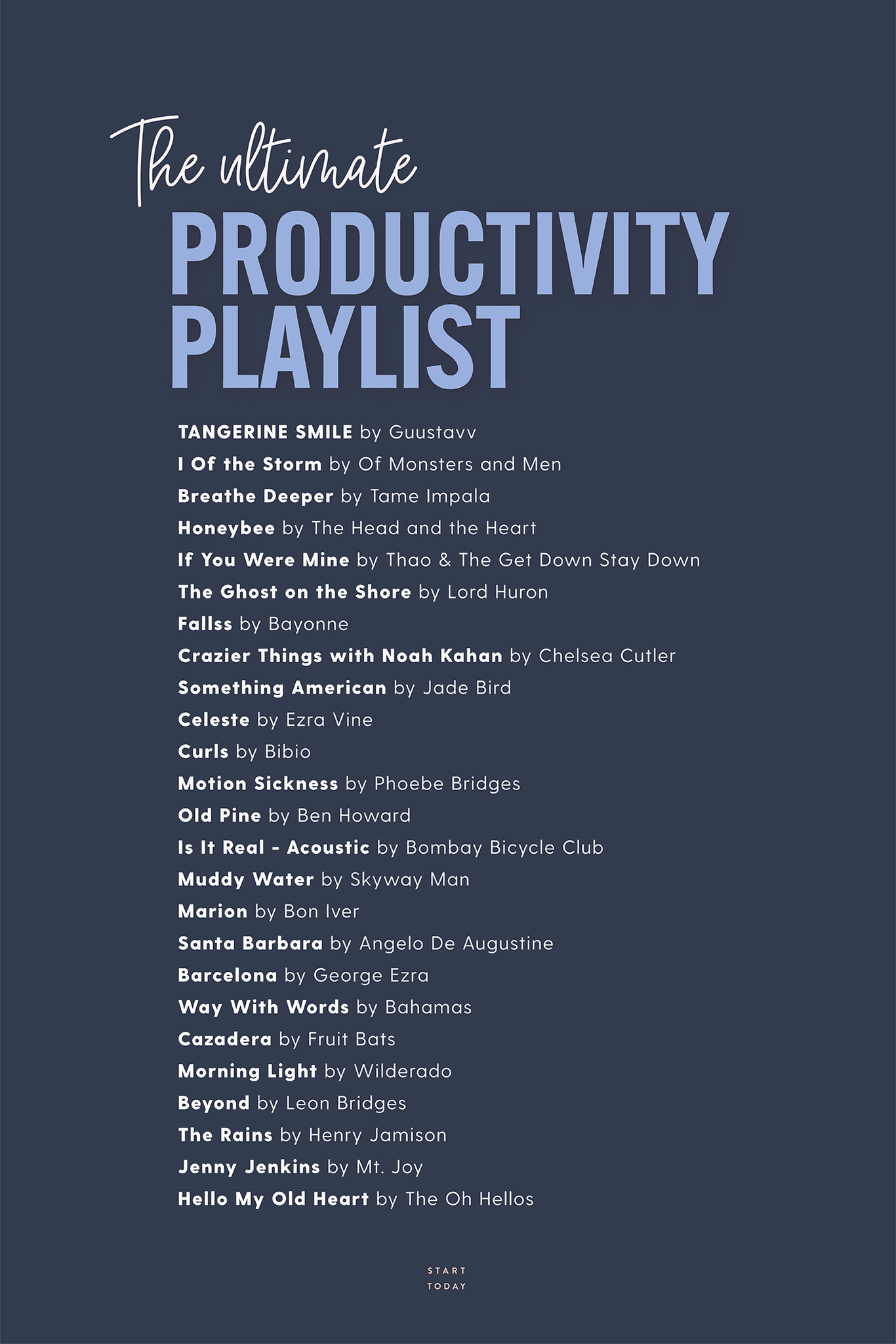 Productivity Playlist from Rachel Hollis - StartToday.com