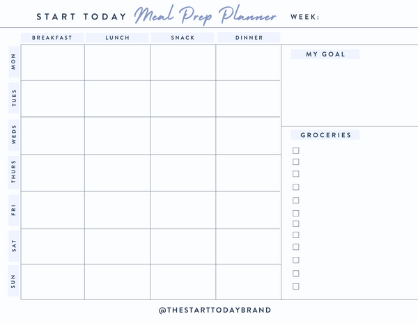START TODAY meal prep printable