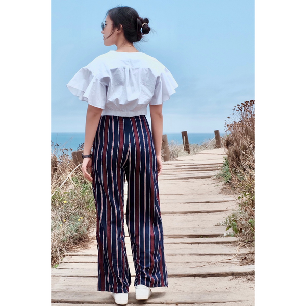 BEACH PANTS GRACE - NAVY RED
