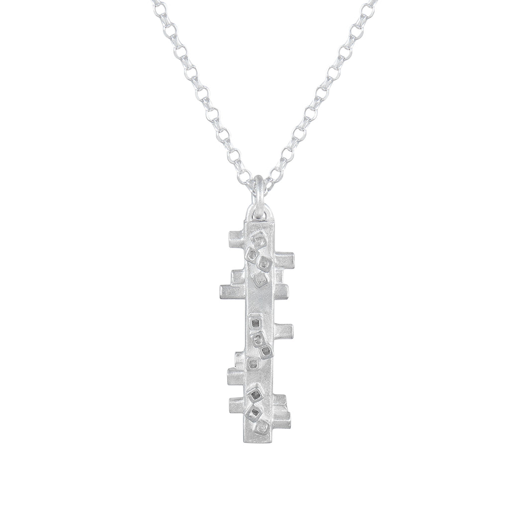 Geometric silver pendant - square tube shapes on fine silver chain | Colony Collection | Margo Orlovik Contemporary Jewellery