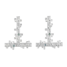 Load image into Gallery viewer, Large geometric silver earrings: square tube shapes and green sapphires | Colony Collection | Margo Orlovik Contemporary Jewellery