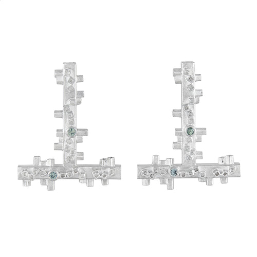 Large geometric silver earrings: square tube shapes and green sapphires | Colony Collection | Margo Orlovik Contemporary Jewellery