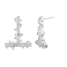 Load image into Gallery viewer, Large geometric silver earrings: square tube shapes and green sapphires side view | Colony Collection | Margo Orlovik Contemporary Jewellery