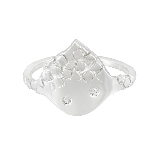 Delicate textured silver ring with white sapphires on triangular front panel, unique, one-off | Imprint Collection | Margo Orlovik