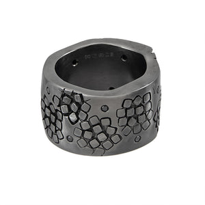 Very chunky black rhodium plated silver band ring with black diamonds, unique, one-off | Imprint Collection | Margo Orlovik