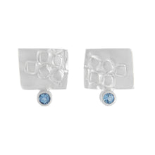 Load image into Gallery viewer, Small rectangular silver stud earrings with square pattern and 2mm AAAA aquamarines | Imprint Collection | Margo Orlovik