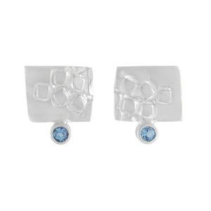 Small rectangular silver stud earrings with square pattern and 2mm AAAA aquamarines | Imprint Collection | Margo Orlovik