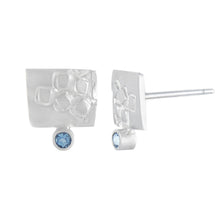 Load image into Gallery viewer, Small rectangular silver stud earrings with square pattern and 2mm AAAA aquamarines side view | Imprint Collection | Margo Orlovik