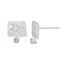 Load image into Gallery viewer, Small rectangular silver stud earrings with square pattern and 2mm Green Sapphires | Imprint Collection | Margo Orlovik