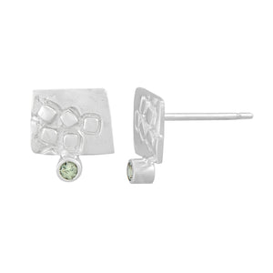 Small rectangular silver stud earrings with square pattern and 2mm Green Sapphires | Imprint Collection | Margo Orlovik