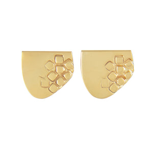 Asymmetric half-oval gold plated silver stud earrings with square pattern | Imprint Collection | Margo Orlovik