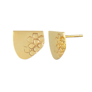 Asymmetric half-oval gold plated silver stud earrings with square pattern side view | Imprint Collection | Margo Orlovik