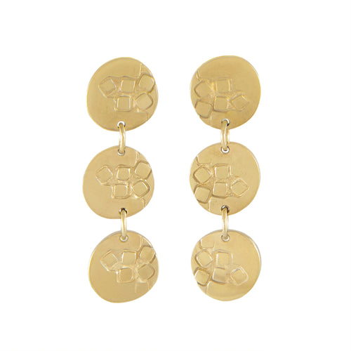 Medium-long stud earrings with three round textured elements in gold plated silver | Imprint Collection | Margo Orlovik