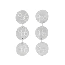 Load image into Gallery viewer, Medium-long silver stud earrings with three round textured elements Matte Finish | Imprint Collection | Margo Orlovik