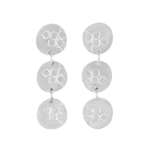 Medium-long silver stud earrings with three round textured elements Matte Finish | Imprint Collection | Margo Orlovik