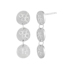 Load image into Gallery viewer, Medium-long silver stud earrings with three round textured elements Matte Finish Side View | Imprint Collection | Margo Orlovik
