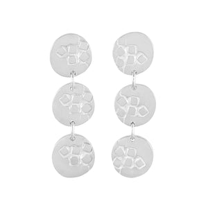 Medium-long silver stud earrings with three round textured elements Polished Finish | Imprint Collection | Margo Orlovik