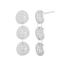 Load image into Gallery viewer, Medium-long silver stud earrings with three round textured elements Polished Finish Side View | Imprint Collection | Margo Orlovik