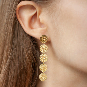 CONTINUUM Long silver stud earrings with five round textured elements ON A MODEL | Imprint Collection | Margo Orlovik