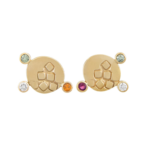 CANON Stud Earrings in 9k gold with diamonds and coloured sapphires with texture on the front | Imprint Collection Margo Orlovik