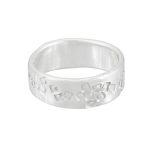 Tiny mid-weight silver band ring with delicate square pattern, unique, one-off | Imprint Collection | Margo Orlovik