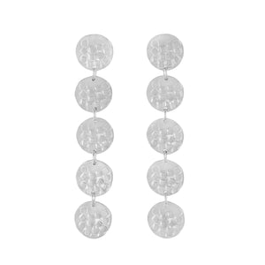 Long silver stud earrings with five round textured elements | Imprint Collection | Margo Orlovik