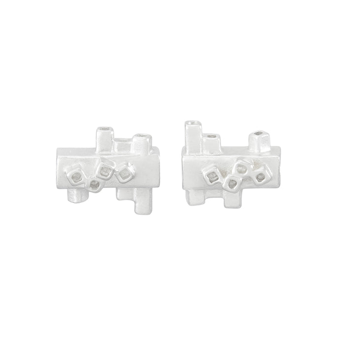 Small square tube geometric silver stud earrings | Colony Collection | Margo Orlovik Contemporary Jewellery