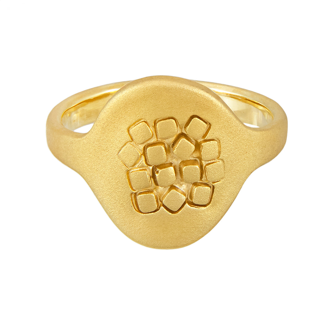 Simple geometric gold vermeil signet ring with square texture on the front panel, unique, one-off | Imprint Collection | Margo Orlovik