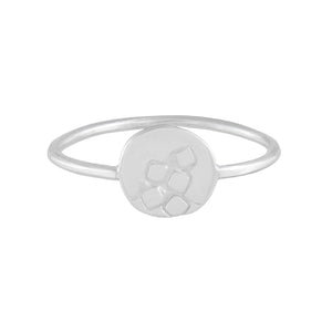 Delicate silver ring with thin wire band and round textured front feature | Imprint Collection | Margo Orlovik