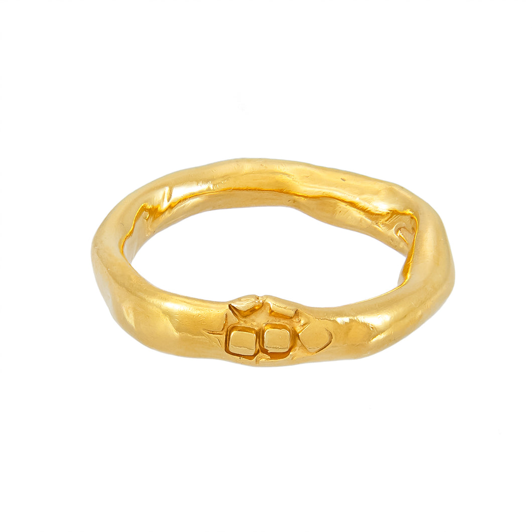 Warped and textured irregular gold plated silver ring, unique, one-off | Imprint Collection | Margo Orlovik
