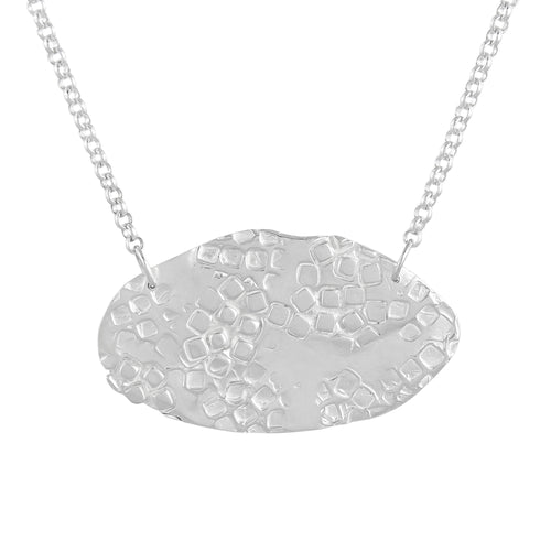 Short silver necklace with textured oval shape on a chain | Imprint Collection | Margo Orlovik