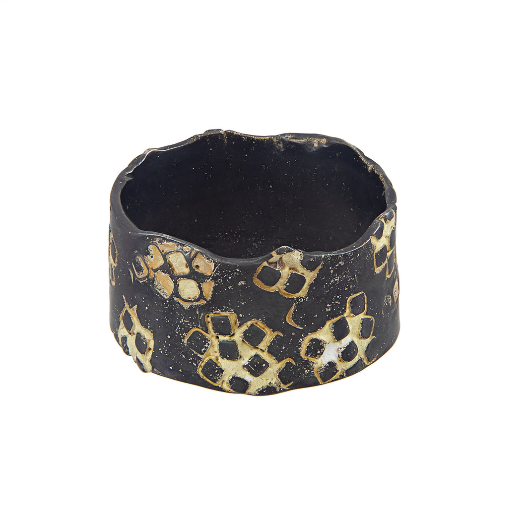 Tall and thin darkened silver band ring with enamelled square pattern, unique, one-off | Imprint Collection | Margo Orlovik