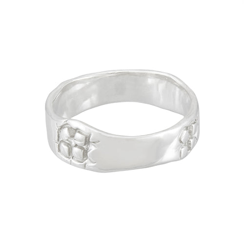 Mid-weight silver band ring with square pattern, unique, one-off | Imprint Collection | Margo Orlovik