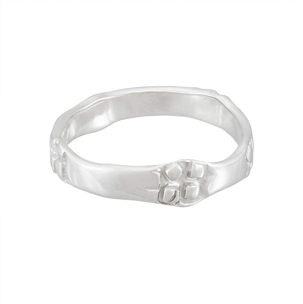 Thin delicate silver band ring with square pattern, unique, one-off | Imprint Collection | Margo Orlovik