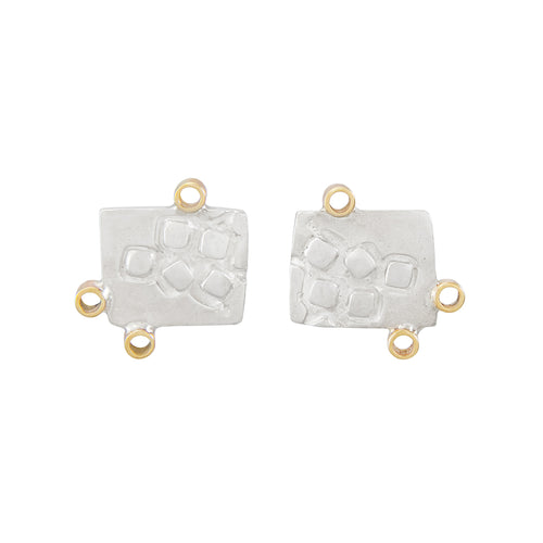 Missense Silver Stud Earrings with Tiny 9K Gold Hoops | Imprint Collection | Margo Orlovik