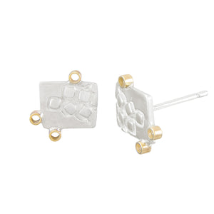 Missense Silver Stud Earrings with Tiny 9K Gold Hoops Side View | Imprint Collection | Margo Orlovik