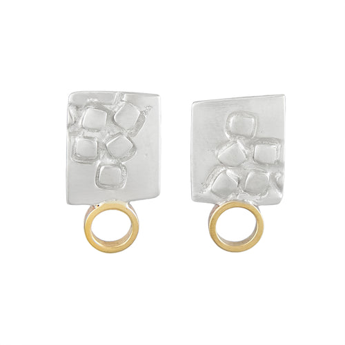 Small rectangular silver stud earrings with square pattern and 9K gold hoops | Imprint Collection | Margo Orlovik