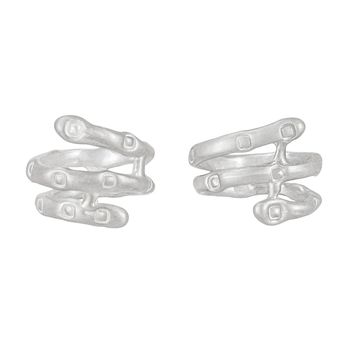 PARAGON HELIX silver mismatched earrings | Margo Orlovik IMPRINT Collection Contemporary Jeweller