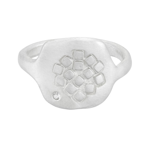 Rounded silver square-hexagonal organic signet ring with square pattern and white sapphire at the front | Imprint Collection | Margo Orlovik