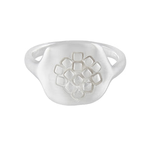 Rounded silver square-hexagonal organic signet ring with square pattern at the front | Imprint Collection | Margo Orlovik